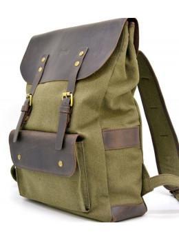 Молодёжный рюкзак кожа + канва TARWA RH-9001-4lx цвета хаки