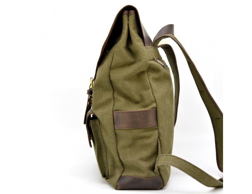 Молодёжный рюкзак кожа + канва TARWA RH-9001-4lx цвета хаки - Фото № 4