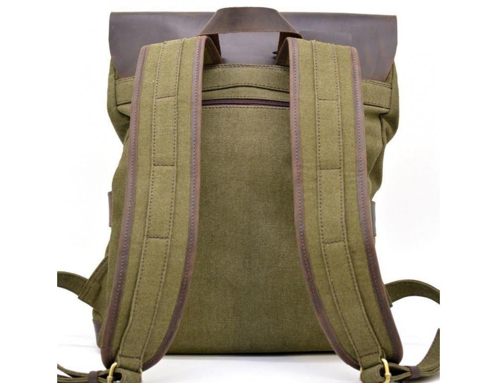 Молодёжный рюкзак кожа + канва TARWA RH-9001-4lx цвета хаки - Фото № 5