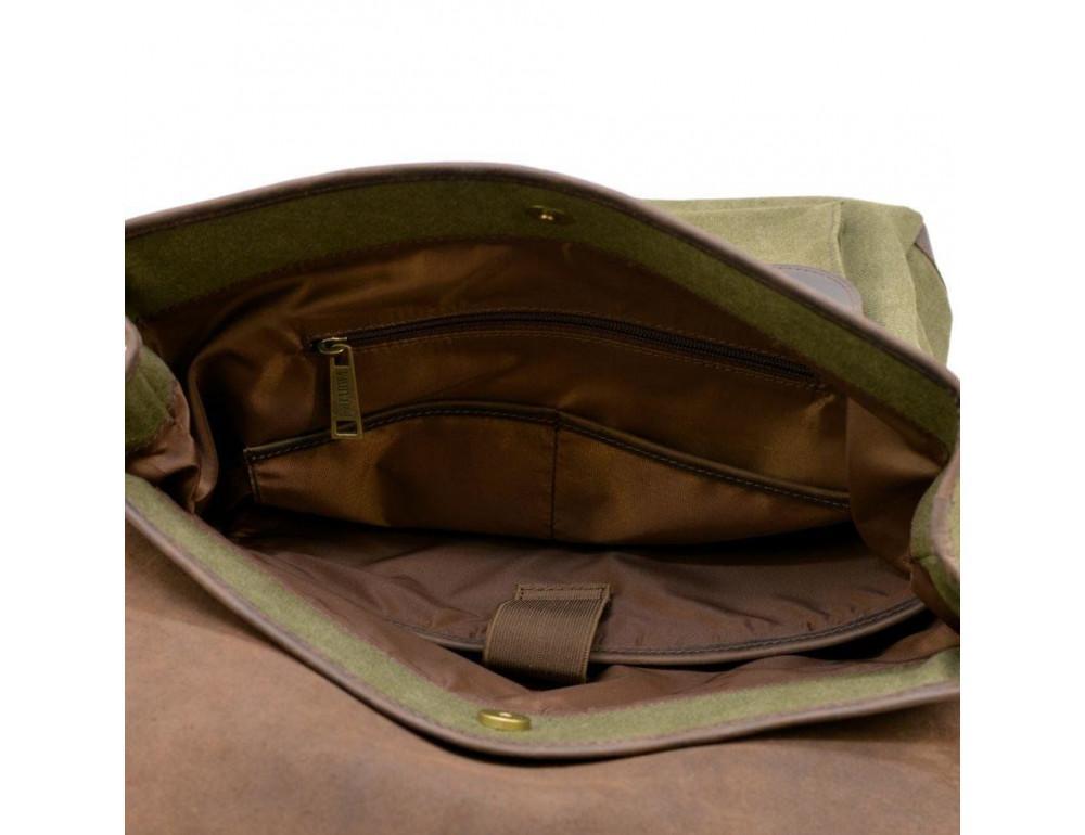 Молодёжный рюкзак кожа + канва TARWA RH-9001-4lx цвета хаки - Фото № 6