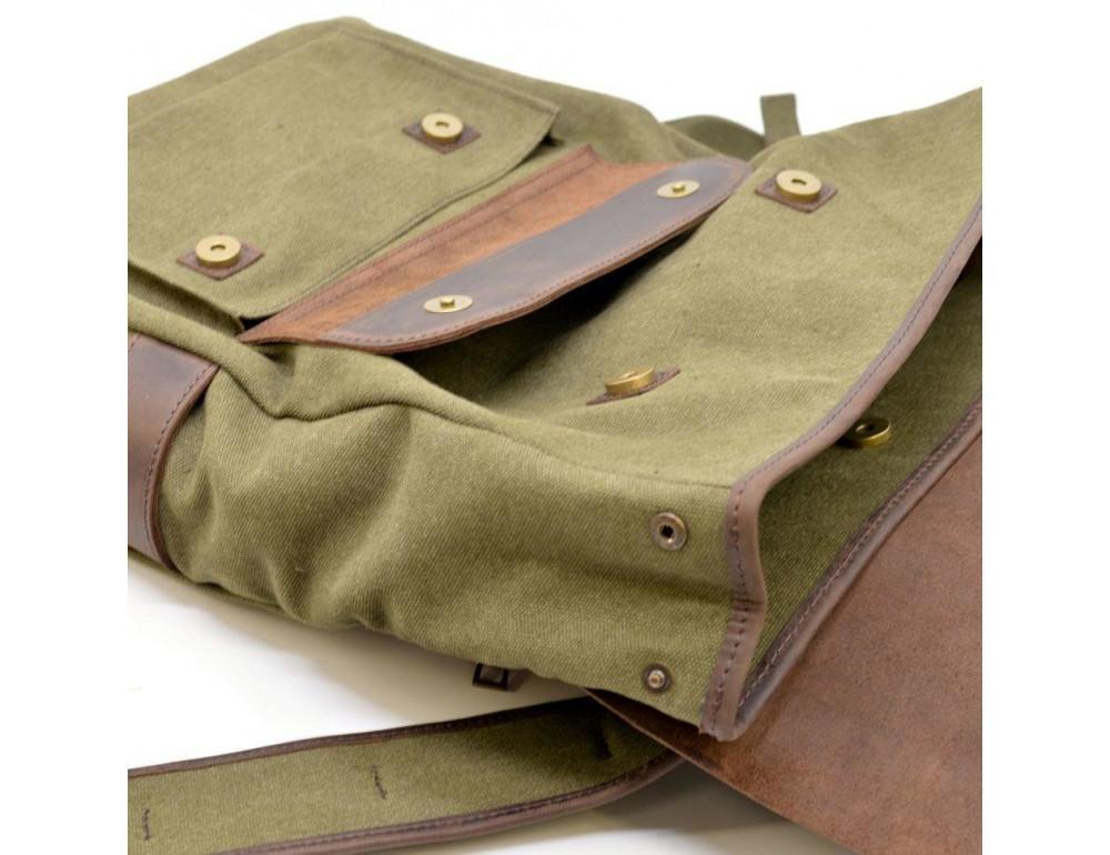 Молодёжный рюкзак кожа + канва TARWA RH-9001-4lx цвета хаки - Фото № 7