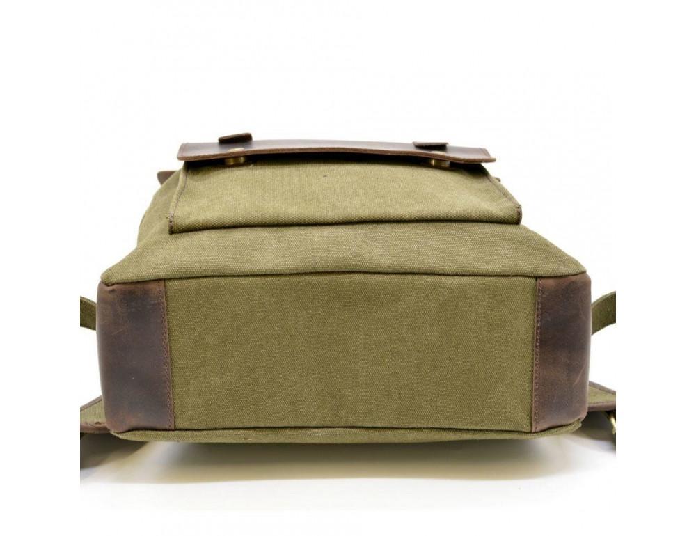 Молодёжный рюкзак кожа + канва TARWA RH-9001-4lx цвета хаки - Фото № 8