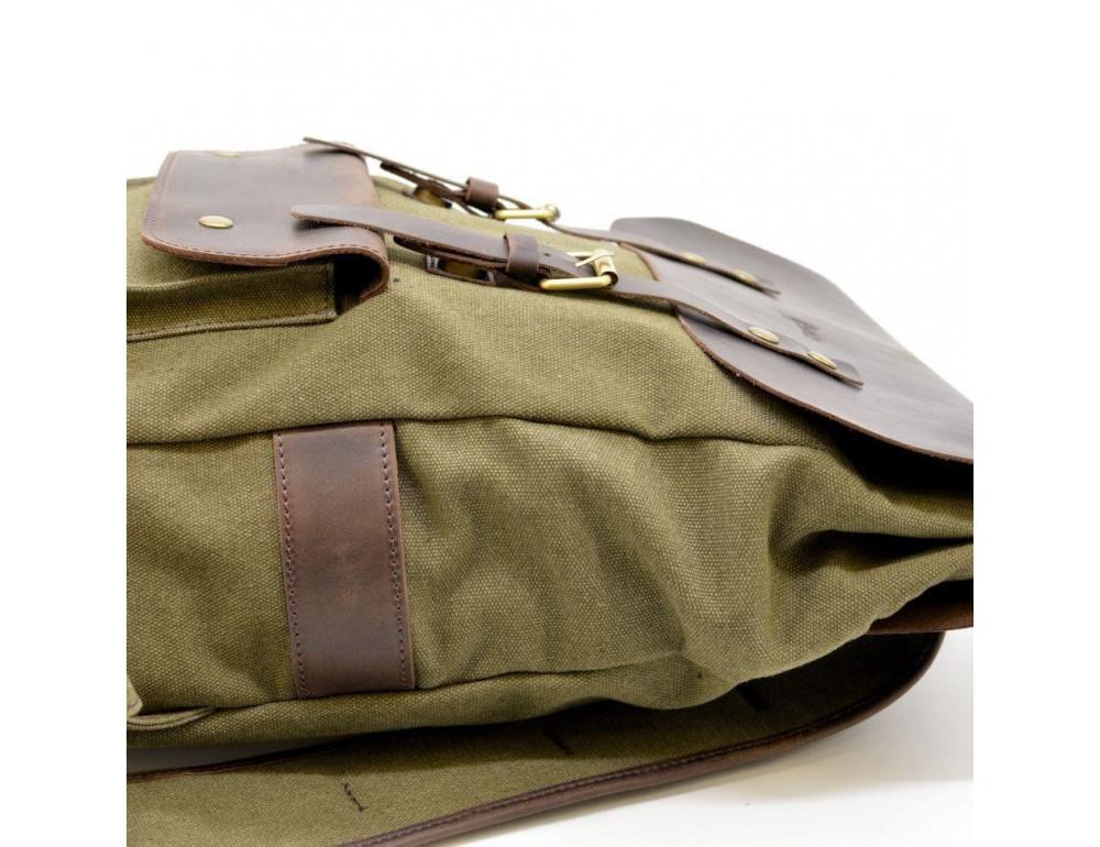 Молодёжный рюкзак кожа + канва TARWA RH-9001-4lx цвета хаки - Фото № 9