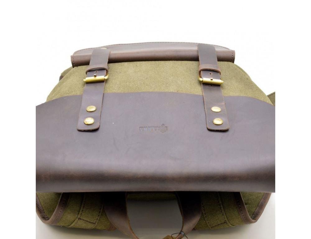 Молодёжный рюкзак кожа + канва TARWA RH-9001-4lx цвета хаки - Фото № 10
