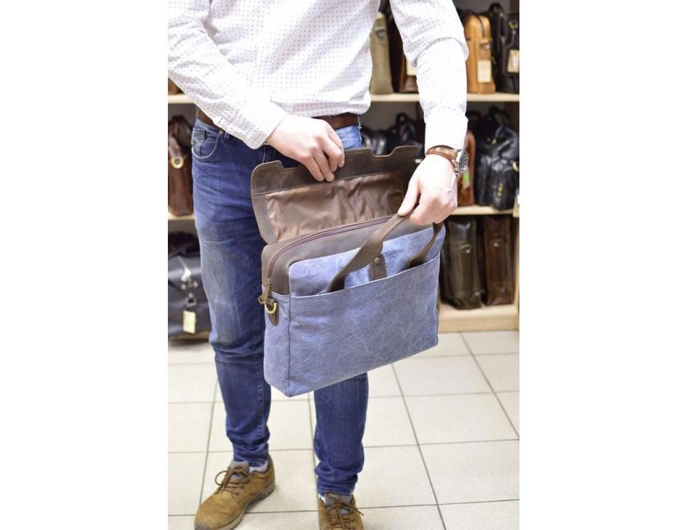 Стильная сумка под ноутбук TARWA RK-1812-4lx синяя - Фото № 9