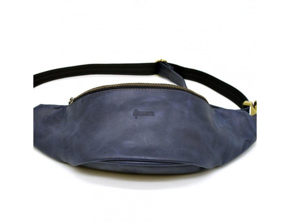 Синяя кожаная сумка на пояс TARWA RK-3036-4lx crazy hourse - Фото № 2