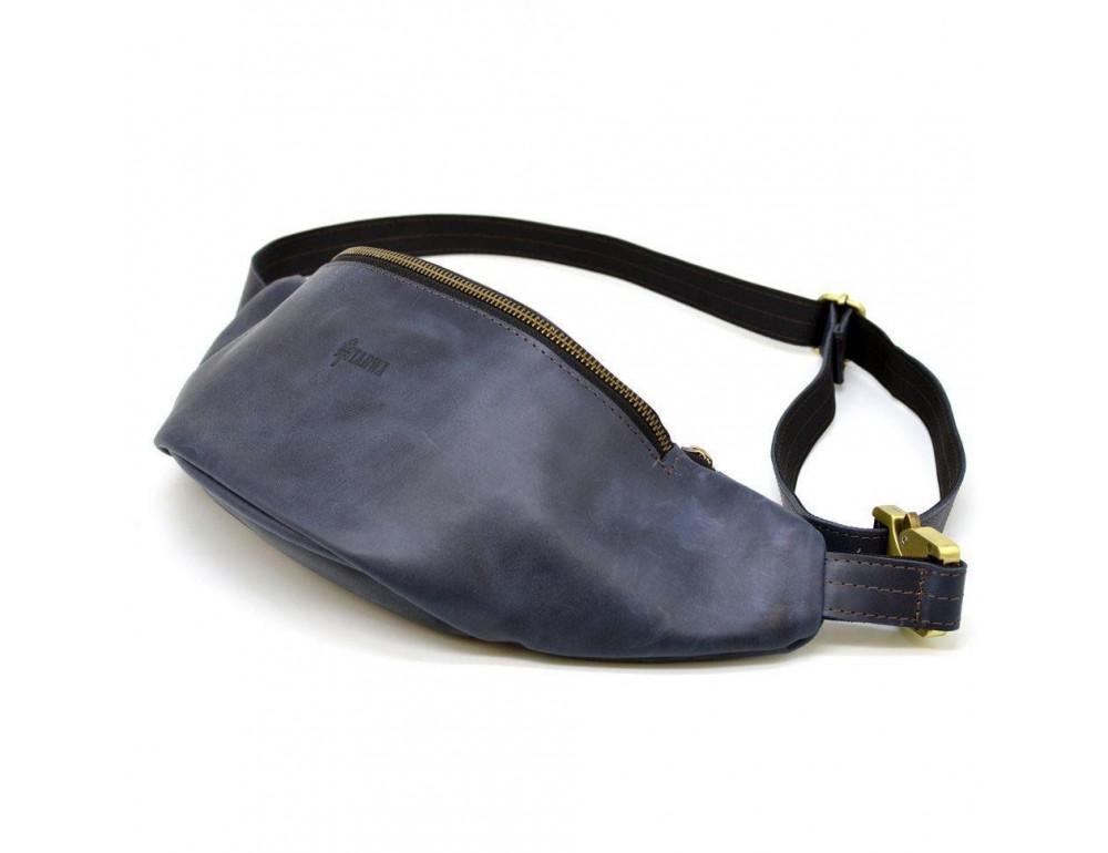 Синяя кожаная сумка на пояс TARWA RK-3036-4lx crazy hourse - Фото № 1