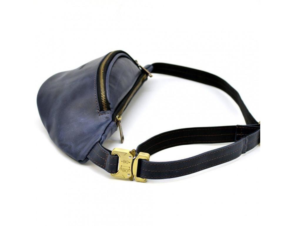 Синяя кожаная сумка на пояс TARWA RK-3036-4lx crazy hourse - Фото № 3