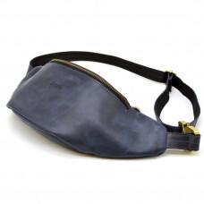 Синяя кожаная сумка на пояс TARWA RK-3036-4lx crazy hourse
