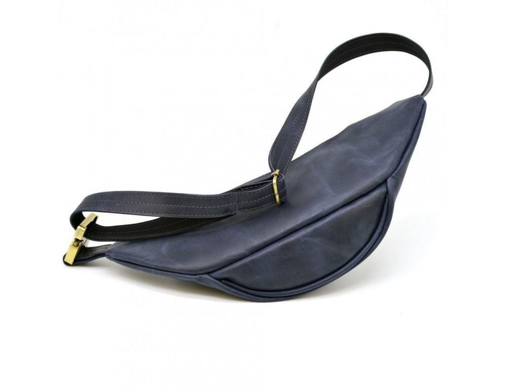 Синяя кожаная сумка на пояс TARWA RK-3036-4lx crazy hourse - Фото № 4