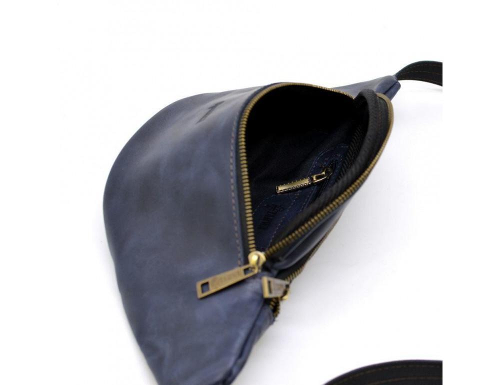 Синяя кожаная сумка на пояс TARWA RK-3036-4lx crazy hourse - Фото № 7