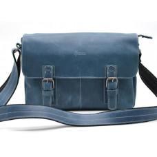 Синя шкіряна сумка-месенджер на два відділення TARWA RK-6002-3md