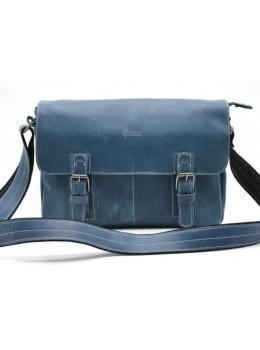 Синяя кожаная сумка-мессенджер на два отделения TARWA RK-6002-3md