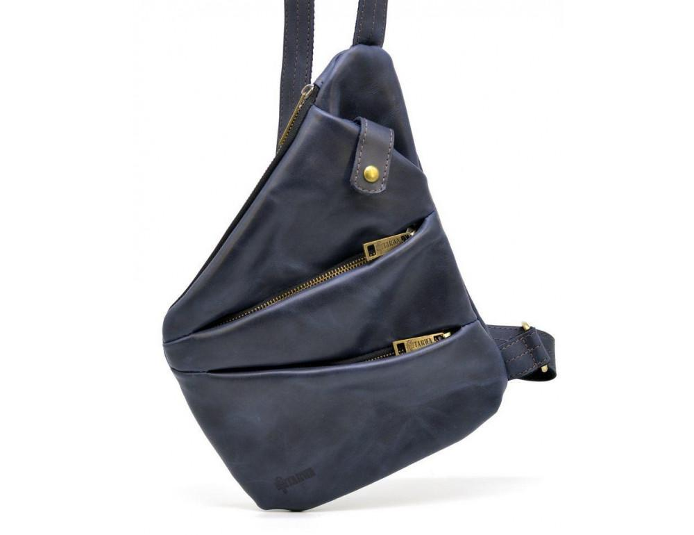 Тёмно-синяя кожаная сумка через плечо молодёжная TARWA RK-6402-3md - Фото № 1