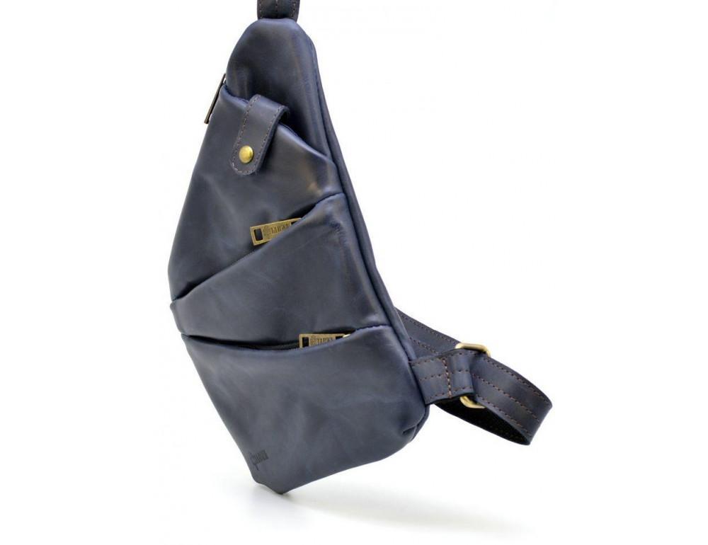 Тёмно-синяя кожаная сумка через плечо молодёжная TARWA RK-6402-3md - Фото № 3