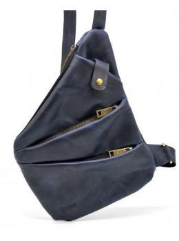 Тёмно-синяя кожаная сумка через плечо молодёжная TARWA RK-6402-3md