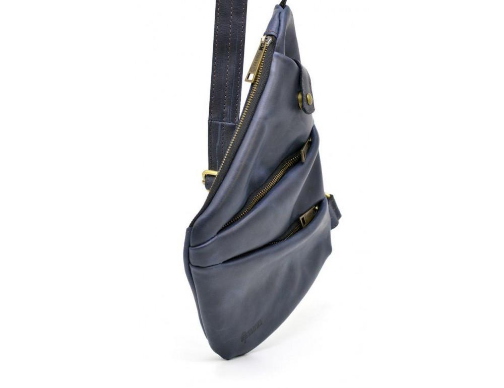 Тёмно-синяя кожаная сумка через плечо молодёжная TARWA RK-6402-3md - Фото № 4