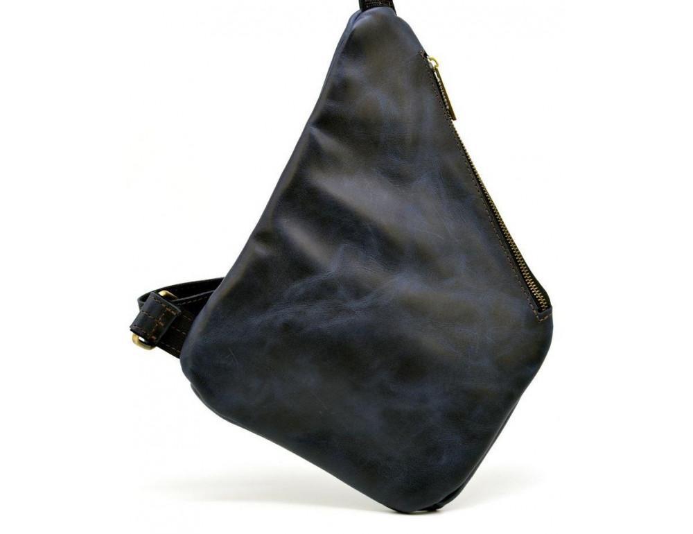 Тёмно-синяя кожаная сумка через плечо молодёжная TARWA RK-6402-3md - Фото № 5