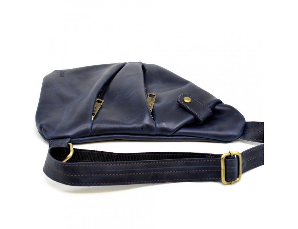 Тёмно-синяя кожаная сумка через плечо молодёжная TARWA RK-6402-3md - Фото № 6