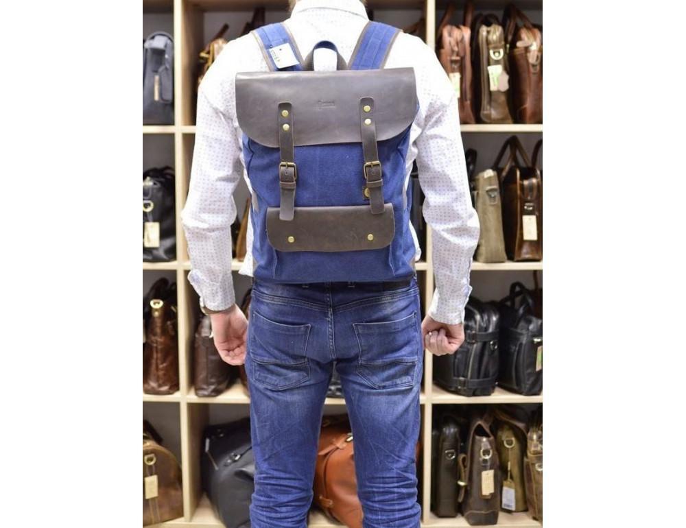 Синий молодёжный рюкзак кожа + канва TARWA RK-9001-4lx - Фото № 2