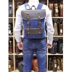 Синий молодёжный рюкзак кожа + канва TARWA RK-9001-4lx - Фото № 101