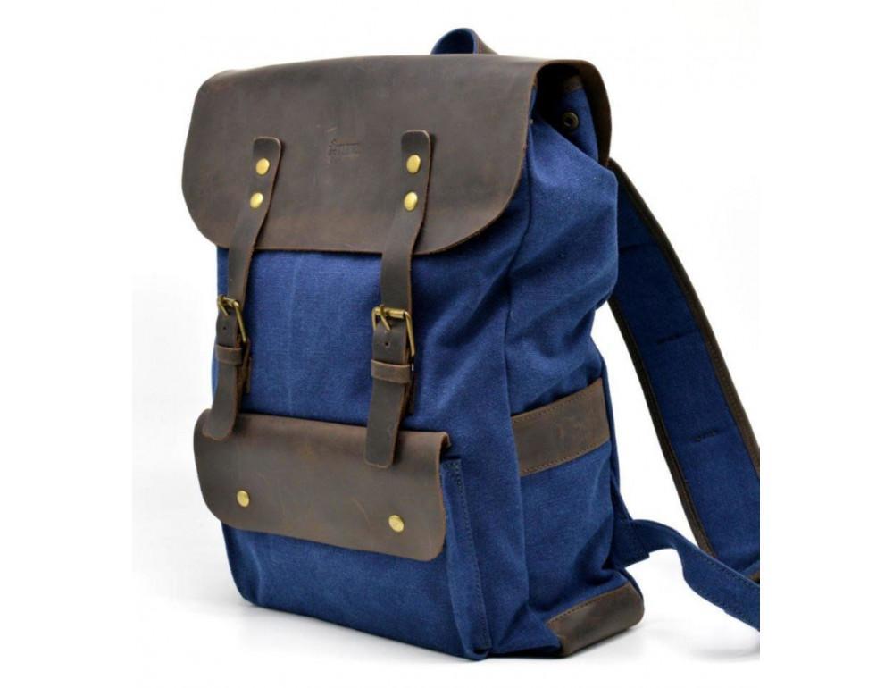 Синий молодёжный рюкзак кожа + канва TARWA RK-9001-4lx - Фото № 1