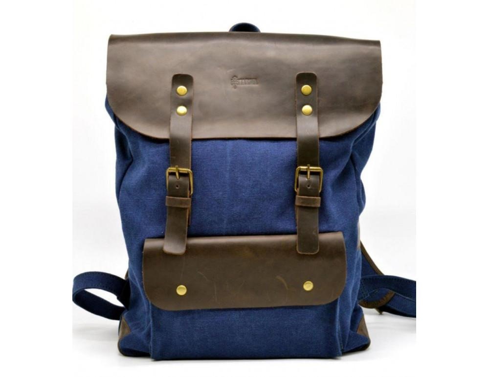 Синий молодёжный рюкзак кожа + канва TARWA RK-9001-4lx - Фото № 3