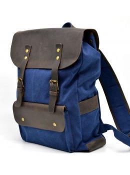 Синий молодёжный рюкзак кожа + канва TARWA RK-9001-4lx