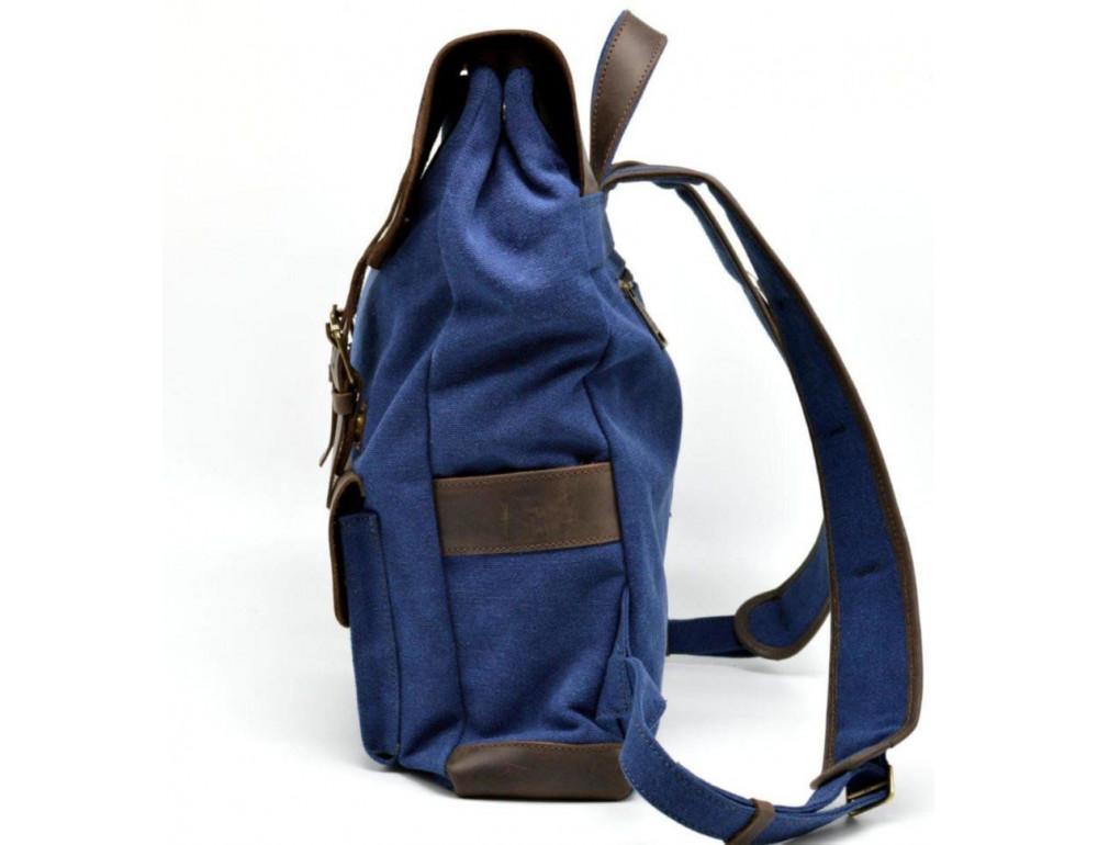 Синий молодёжный рюкзак кожа + канва TARWA RK-9001-4lx - Фото № 4