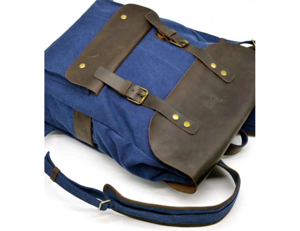 Синий молодёжный рюкзак кожа + канва TARWA RK-9001-4lx - Фото № 5