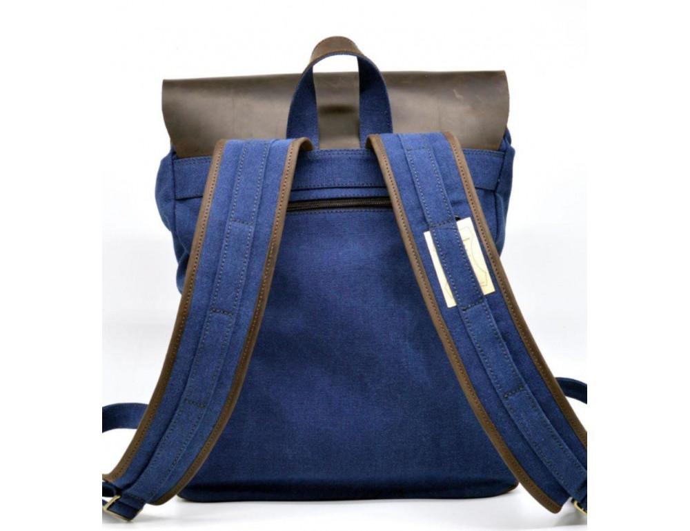 Синий молодёжный рюкзак кожа + канва TARWA RK-9001-4lx - Фото № 6