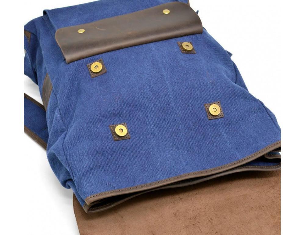 Синий молодёжный рюкзак кожа + канва TARWA RK-9001-4lx - Фото № 7