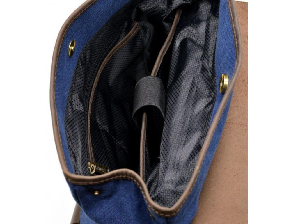 Синий молодёжный рюкзак кожа + канва TARWA RK-9001-4lx - Фото № 8