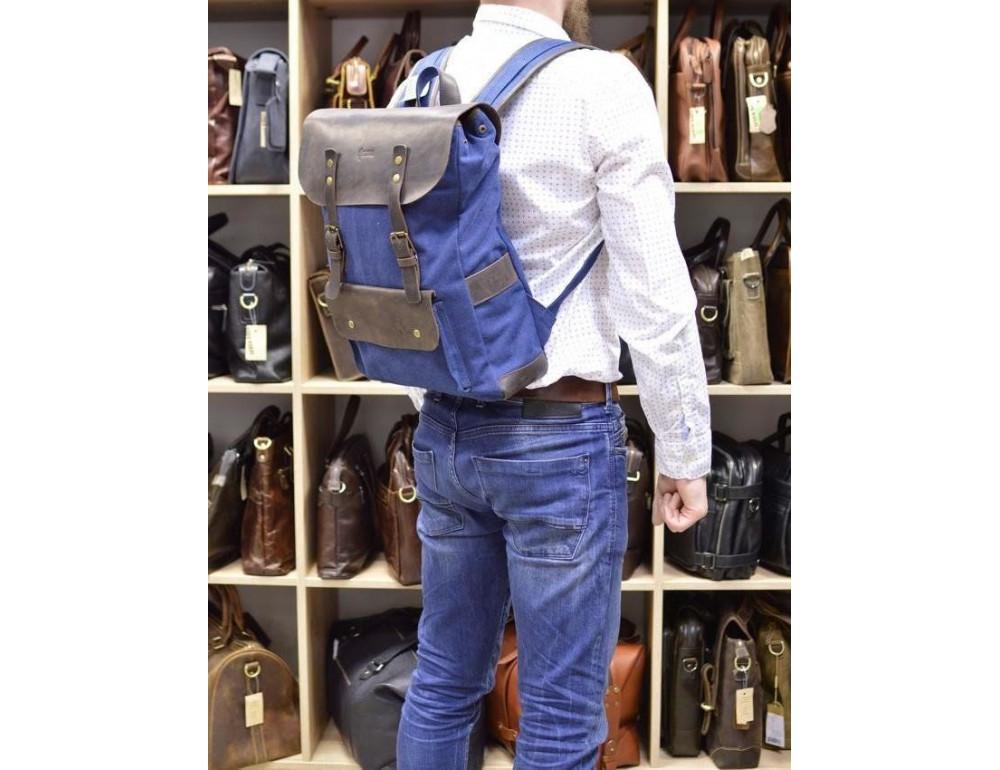 Синий молодёжный рюкзак кожа + канва TARWA RK-9001-4lx - Фото № 9