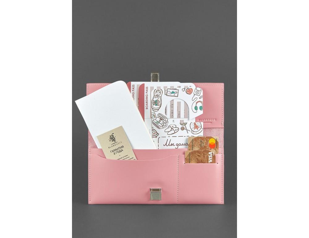 Розовый кожаный органайзер под документы Blanknote BN-TK-2-PINK-PEACH - Фото № 2