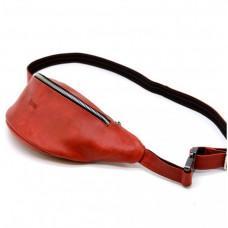 Красная напоясная женская сумка из натуральной кожи TARWA RR-3035-4lx