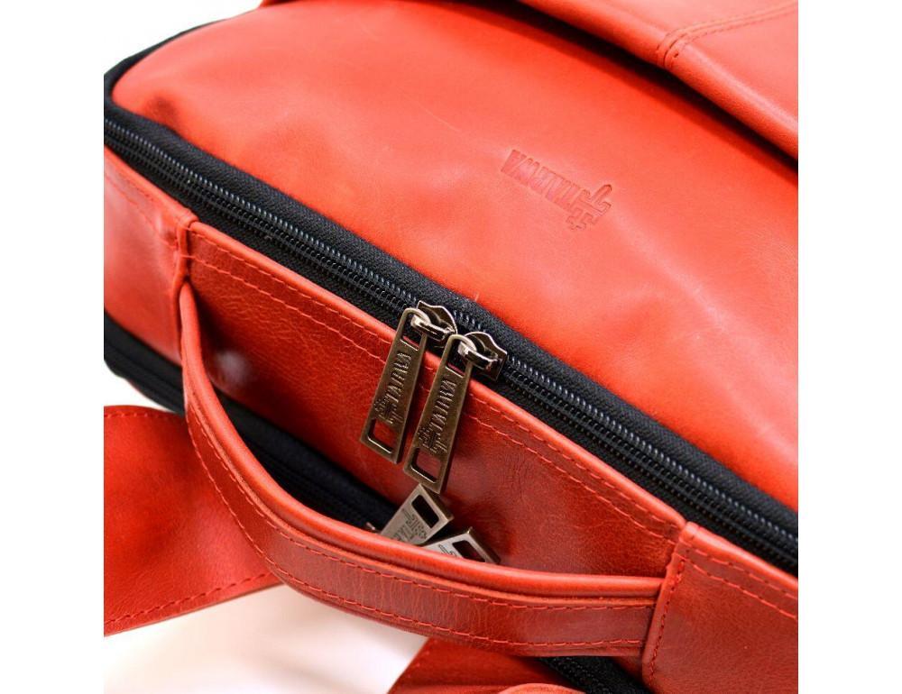 Красный кожаный рюкзак на два отделения TARWA RR-7280-3md - Фото № 4