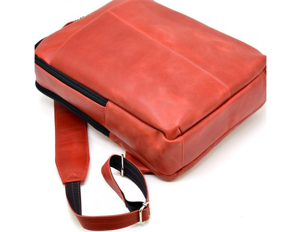 Красный кожаный рюкзак на два отделения TARWA RR-7280-3md - Фото № 5