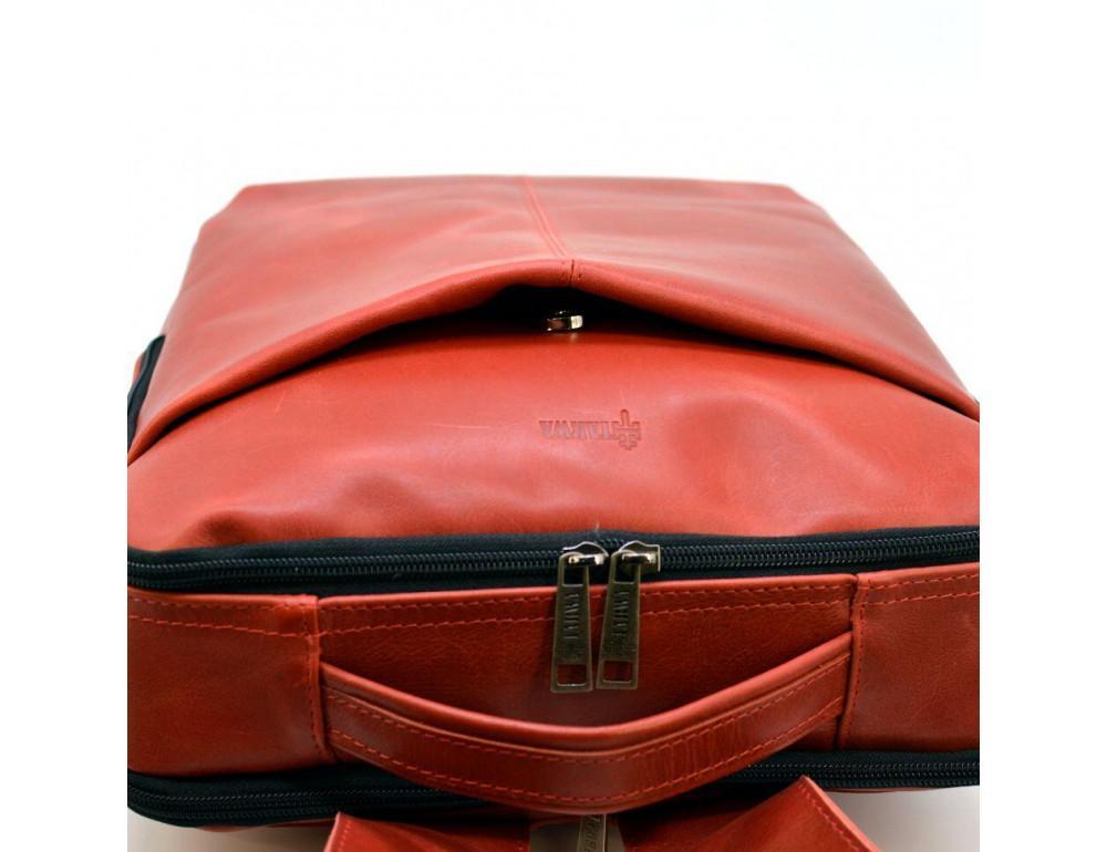 Красный кожаный рюкзак на два отделения TARWA RR-7280-3md - Фото № 6