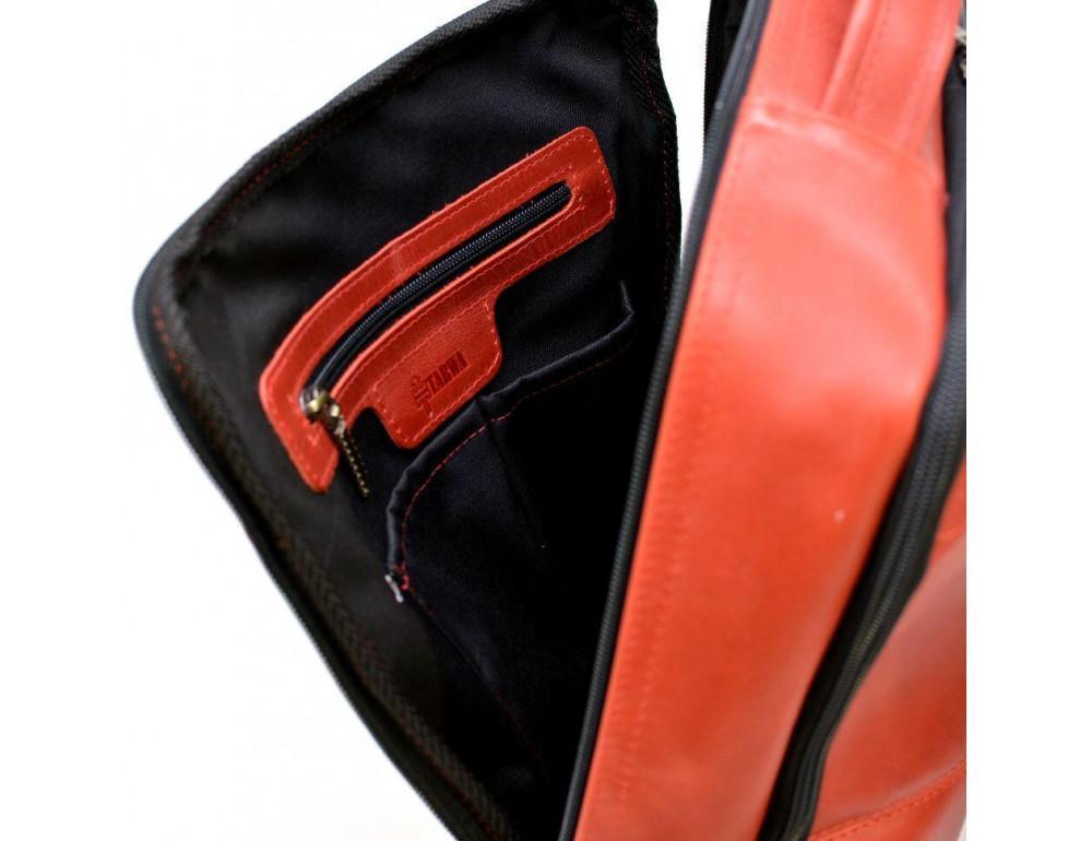 Красный кожаный рюкзак на два отделения TARWA RR-7280-3md - Фото № 7
