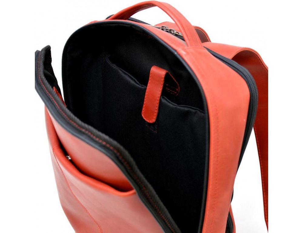 Красный кожаный рюкзак на два отделения TARWA RR-7280-3md - Фото № 8