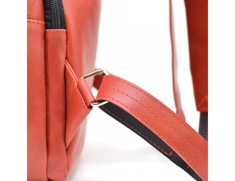 Красный кожаный рюкзак на два отделения TARWA RR-7280-3md - Фото № 9