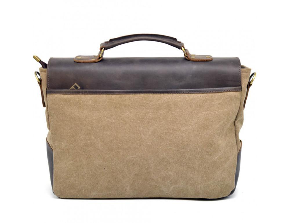 Коричневая сумка портфель из ткани и кожи TARWA RSc-3960-3md - Фото № 2