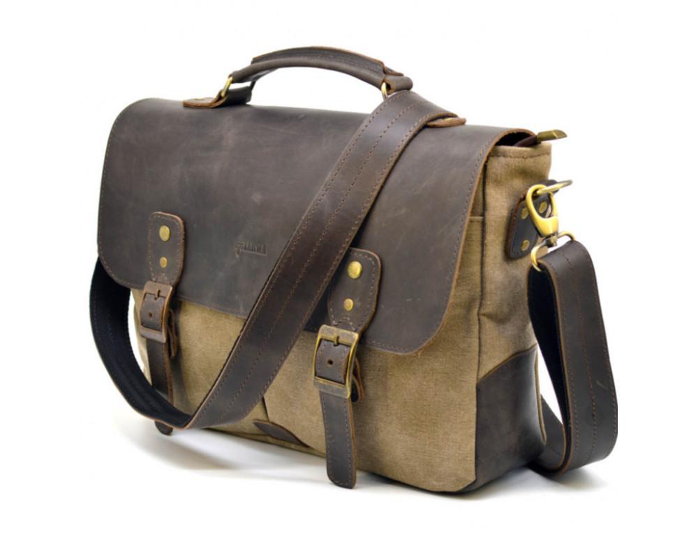 Коричневая сумка портфель из ткани и кожи TARWA RSc-3960-3md - Фото № 1