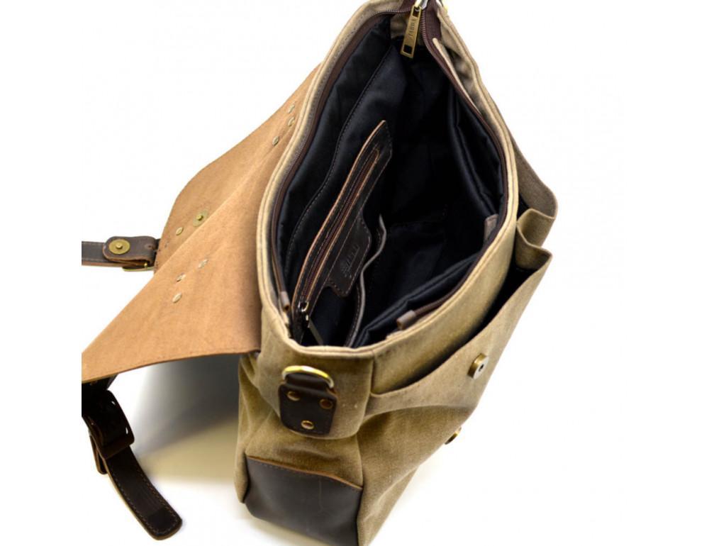 Коричневая сумка портфель из ткани и кожи TARWA RSc-3960-3md - Фото № 3