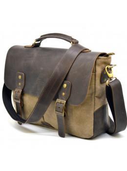 Коричнева сумка портфель з тканини і шкіри TARWA RSc-3960-3md