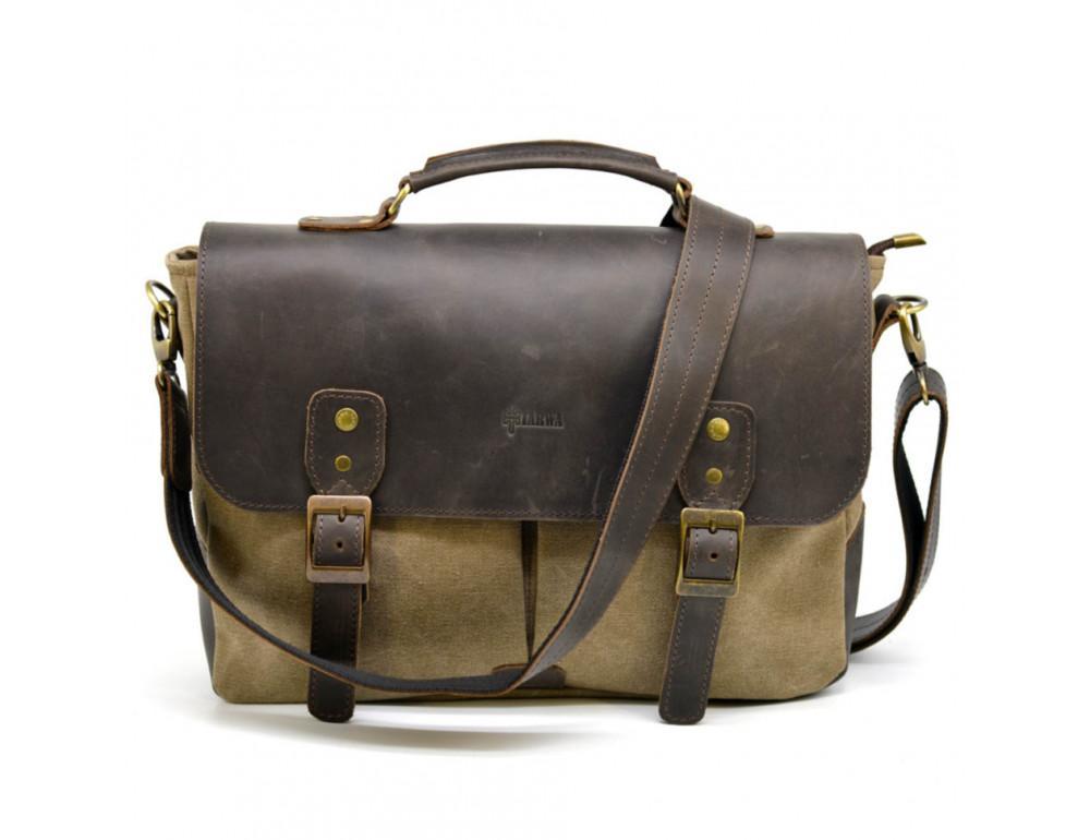 Коричневая сумка портфель из ткани и кожи TARWA RSc-3960-3md - Фото № 4