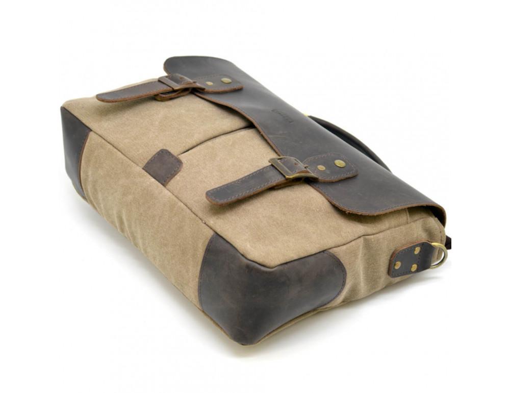 Коричневая сумка портфель из ткани и кожи TARWA RSc-3960-3md - Фото № 6