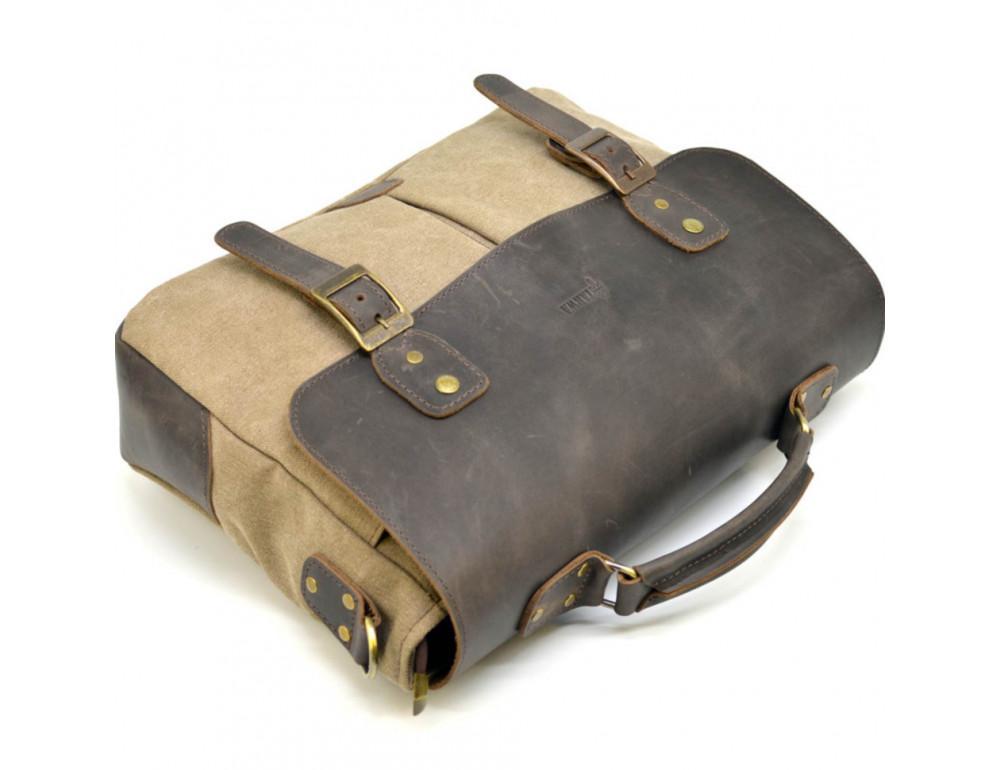 Коричневая сумка портфель из ткани и кожи TARWA RSc-3960-3md - Фото № 7