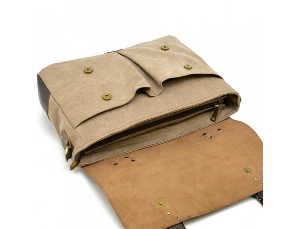 Коричневая сумка портфель из ткани и кожи TARWA RSc-3960-3md - Фото № 8